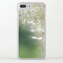 Wispy over green Clear iPhone Case