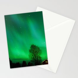 Northern light in Swedish Lapland Stationery Cards