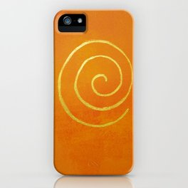 Infinity Bright Orange With Gold Abstract Modern Art Painting iPhone Case