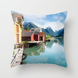 Colorful houses and mountains with reflection in the fjord in Norway Throw Pillow