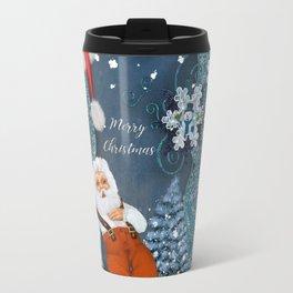 Funny Santa Claus with snowman Travel Mug