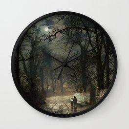 John Atkinson Grimshaw - A moonlit Lane - Victorian Retro Vintage Painting Wall Clock
