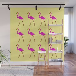 Flamingos in yellow Wall Mural
