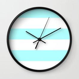 Wide Horizontal Stripes - White and Celeste Cyan Wall Clock