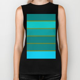 Teal Stripes Biker Tank