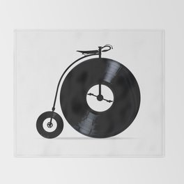 Penny Farthing With Vinyl Records Throw Blanket
