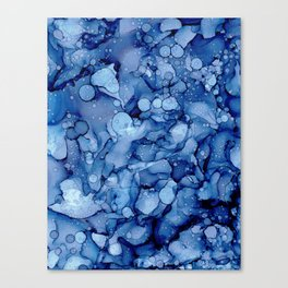 Stone Washed Denim:Original Abstract Alcohol Ink Painting Canvas Print