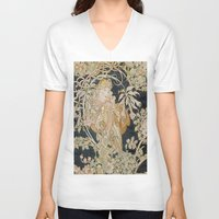 mucha V-neck T-shirts featuring 1898 - 1900 Femme a Marguerite by Alphonse Mucha by BookCollecting101