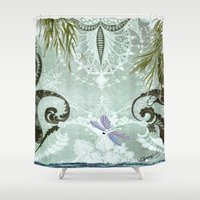 tiffany Shower Curtains featuring tiffany lake by Ariadne