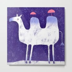 Camel in wintry mix with tiny umbrellas Metal Print