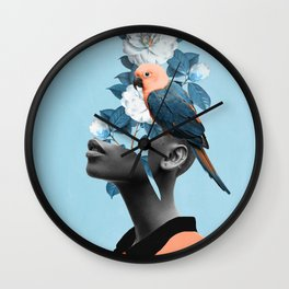 Girl with parrot Wall Clock