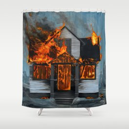 House on Fire Shower Curtain
