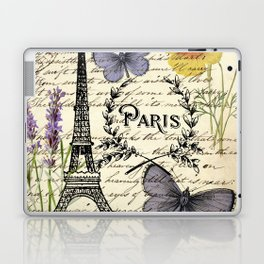 french botanical print purple butterfly lavender floral paris eiffel tower Laptop & iPad Skin
