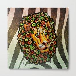 Lion with curly mane (yellow green orange rasta lions wild zebra) Metal Print