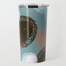 Graphic Seed Pods Turquoise and Brown Travel Mug