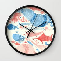under the sea Wall Clocks featuring Under the sea by Matt Saunders