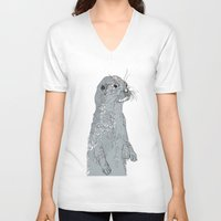 otter V-neck T-shirts featuring Otter by caseysplace