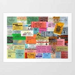 I miss concerts - ticket stubs Art Print