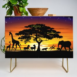 Wild Animals on African Savanna Sunset Credenza