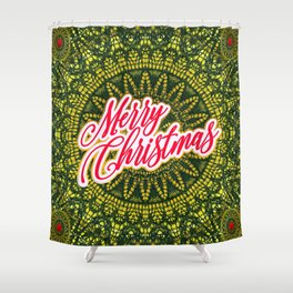 Merry Christmas Lace Shower Curtain