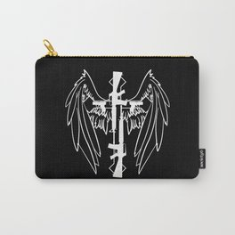 White Gun Cross with Wings Carry-All Pouch