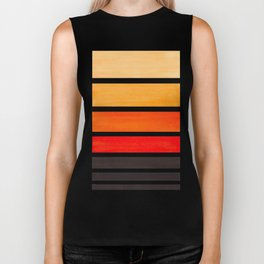 Orange Minimalist Watercolor Mid Century Staggered Stripes Rothko Color Block Geometric Art Biker Tank