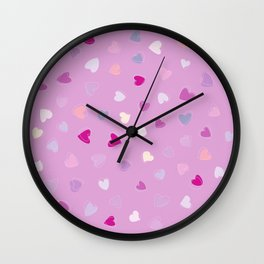 Love, Romance, Hearts - Blue Purple Pink White  Wall Clock