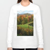 vermont Long Sleeve T-shirts featuring Warren Vermont Foliage by Vermont Greetings