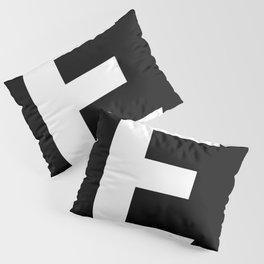 Letter E (White & Black) Pillow Sham