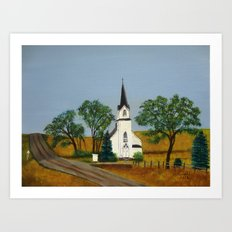Church by the country road Art Print