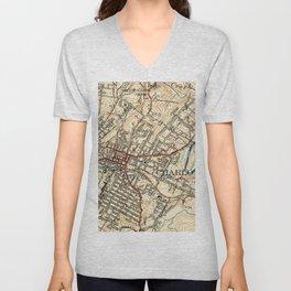 Vintage Map of Charlottesville Virginia (1949) Unisex V-Neck