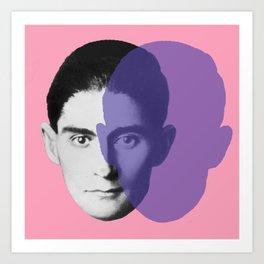 Franz Kafka - portrait pink and purple Art Print