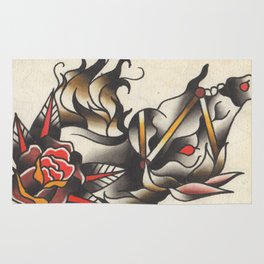 Horse Tattoo Watercolor Rug