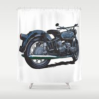 bmw Shower Curtains featuring BMW R50 MOTORCYCLE by Ernie Young