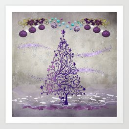 Elegant Purple Holiday Scene Art Print