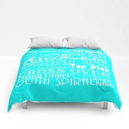 Turquoise Figure Skating Subway Style Typographic Design Comforters