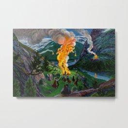 Tyrol Alpine River Valley Bonfires of the Summer Solstice landscape painting by Nikolai Astrup Metal Print