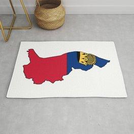 Liechtenstein Map with Liechtensteiner Flag Rug