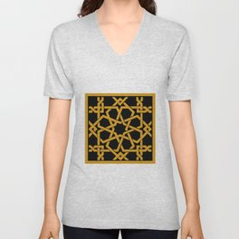 Black and Yellow Islamic Geometric Art Unisex V-Neck