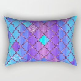 Moroccan Tile Pattern In Purple And Aqua Blue Rectangular Pillow