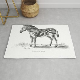 Zebra black and white retro drawing Rug