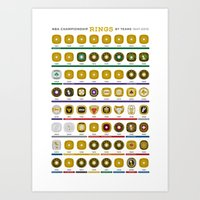 nba Art Prints featuring NBA Championship Rings by Hoop Dream Ink