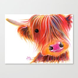 Scottish Highland Cow ' SWEET SATSUMA ' by Shirley MacArthur Canvas Print