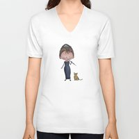 audrey V-neck T-shirts featuring Audrey by Juliana Motzko
