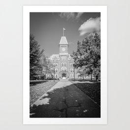 Ohio Campus Vertical Black White Print Art Print