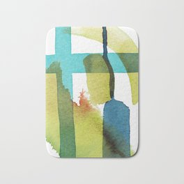 Blue and Yellow and Green Abstract Art Bath Mat
