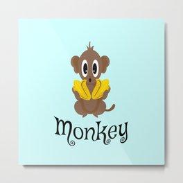 Monkey! Little Monkey with Bananas Metal Print