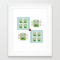 backpack Framed Art Prints featuring Backpack  Quilt -Apple by Drape Studio