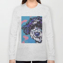 PWD Portuguese Water Dog Fun bright colorful Pop Art Dog Paintingby Lea Long Sleeve T-shirt