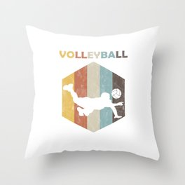 Volleyball Team Ball Game Spiking Action Sports Vintage Distressed Volleyball Gift Throw Pillow